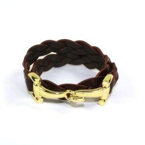 Armband Double braided bruin